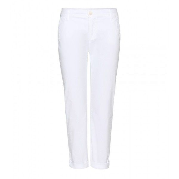 J Brand Alex Cropped Chinos (3,575 MXN) ❤ liked on Polyvore featuring pants, capris, bottoms, trousers, white, j brand pants, slim pants, white pants, white chino pants and white crop pants