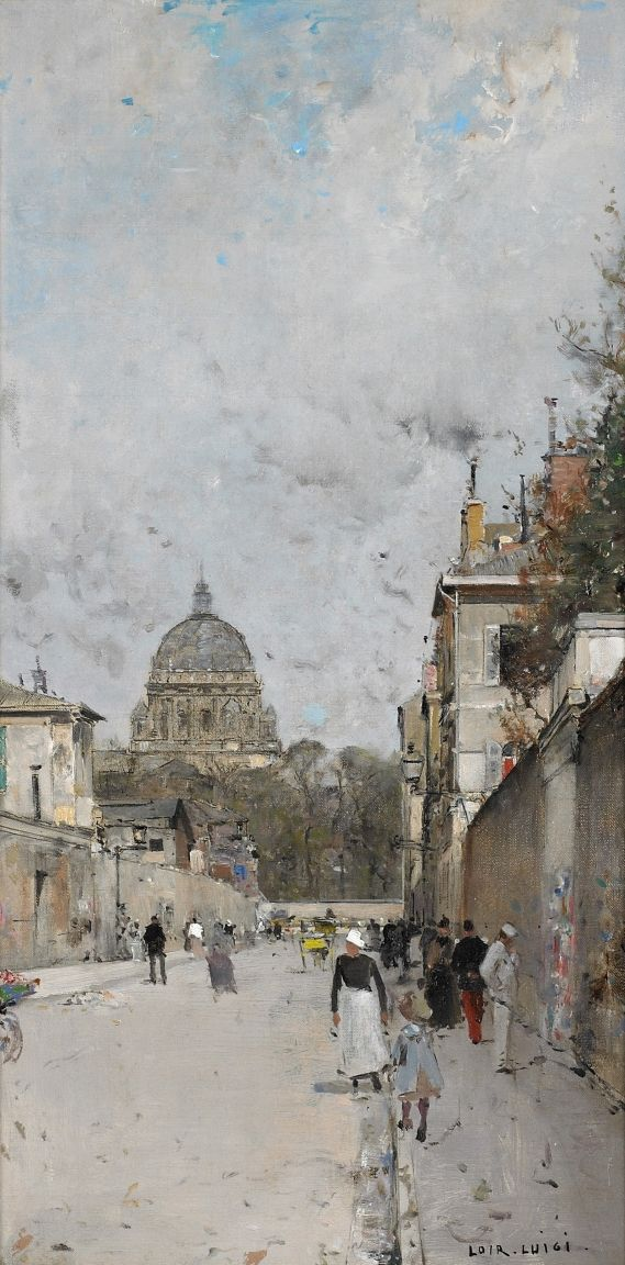 Luigi Loir (Austrian-French, 1845 - 1916) Paris, le Dome de l'Eglise du Val de Grace, N/D