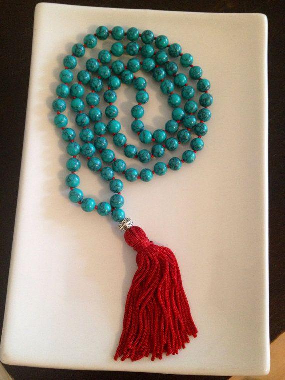 Turquoise Beaded Tassel Mala Necklace on Etsy, $50.00