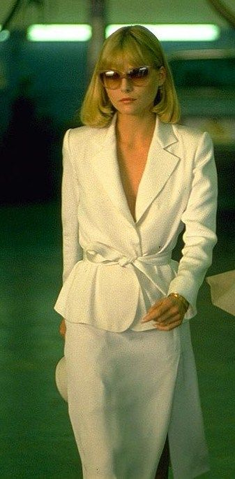 Michelle Pfeiffer's white skirt suit in Scarface.