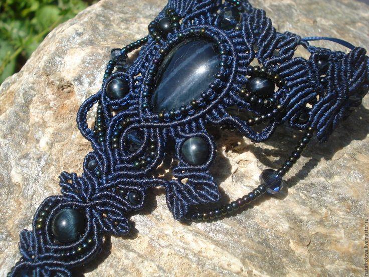 Купить Слейв браслет с соколиным глазом - Макраме, макраме украшения, украшения ручной работы, украшение