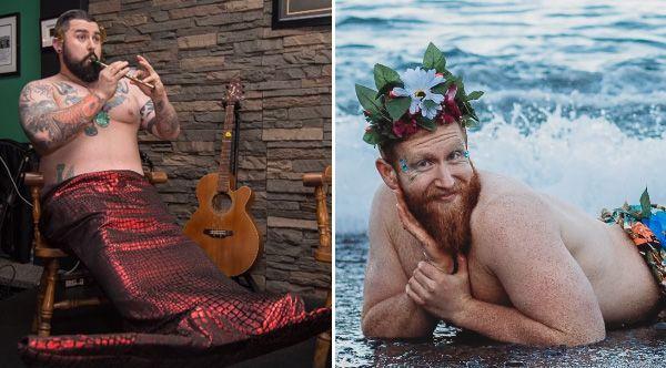 A group of bearded Canadian men are raising money for charity with a 'dudeoir' Merman calendar.