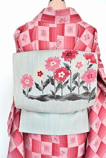 パウダーブルーにダリアのような花模様愛らしい開き名古屋帯 - アンティーク着物・リサイクル着物のオンラインショップ 姉妹屋