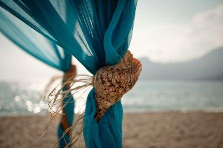Seashell detail on wedding canopy for beach wedding in Crete by Moments www.weddingincrete.com