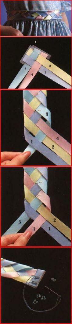 Пояс, сплетённый из лент. | Handmade_Рукоделие. Сделай сам! | Постила. (Plaited / Braided Ribbons.)