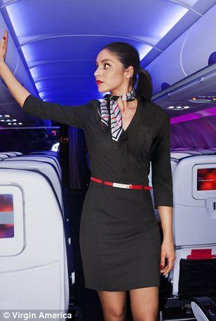 Banana Republic's designs for the Virgin America flight crew: Women's slim-fitting black shirt dress, silk charmeuse black border scarf and revsersible belt