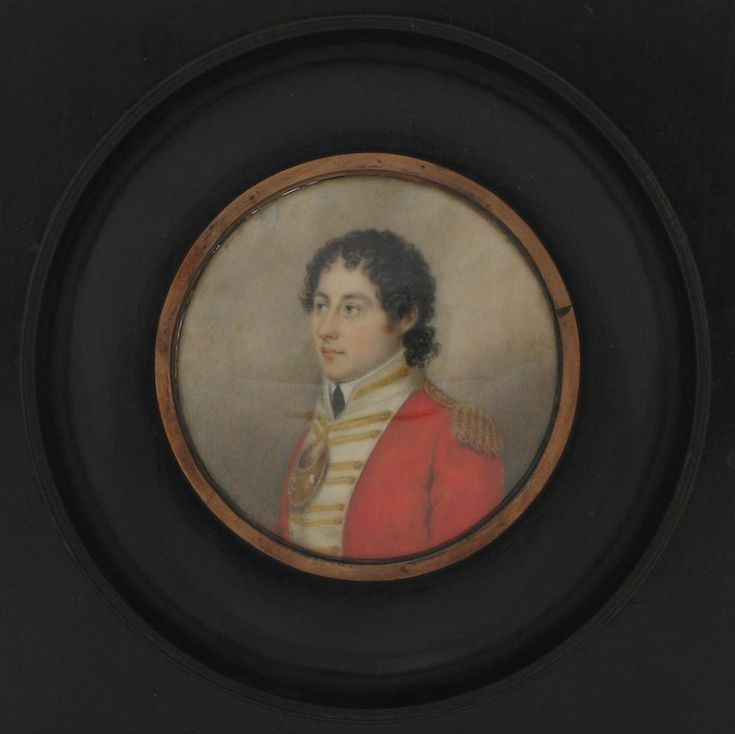 Lord Byron pictured in a miniature by Prepiani, in the collection at Newstead Abbey, Nottinghamshire.