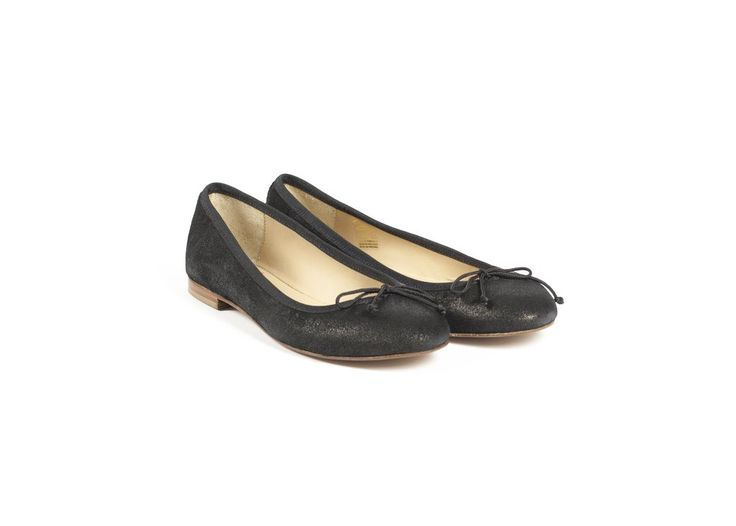 Black Lamé Ballet Flats by Bobbies
