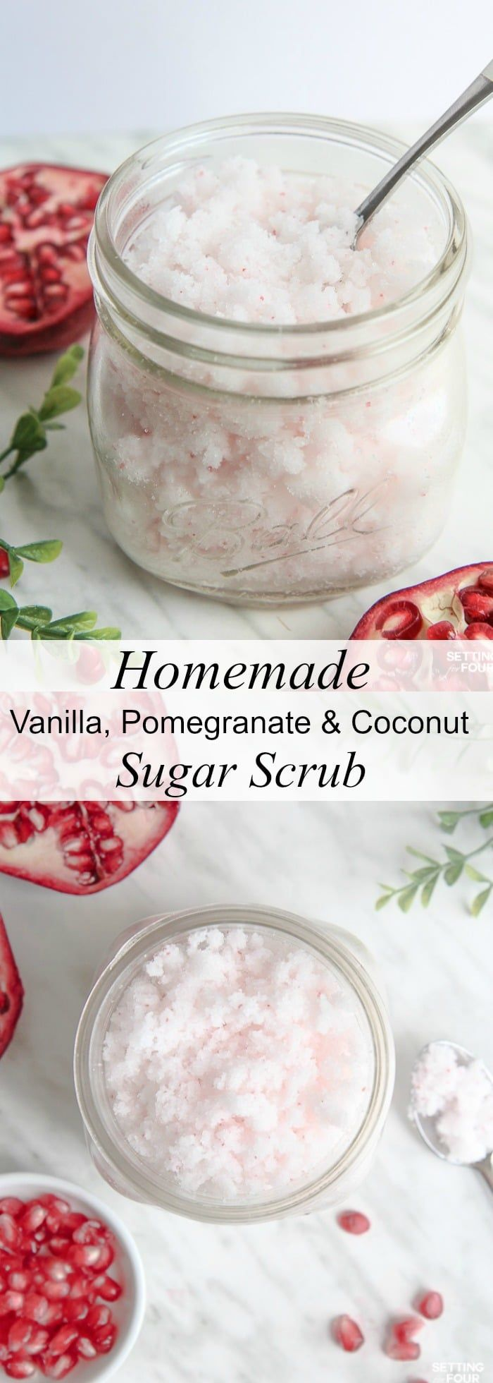This DIY Vanilla, Pomegranate and Coconut Sugar Scrub Recipe is quick to make and smells amazing Great homemade gift idea! Rich, moisturizing coconut oil mixed with exfoliating sugar not only feels fabulous but gets rid of flaky skin in a jiffy! Click to see the ingredients and directions to make this easy DIY sugar scrub! #diy #sugarscrub