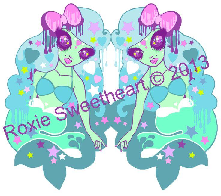 Mystical Mermaid Illustration by Roxie Sweetheart #mermaids #roxiesweetheart #kawaii #creepycute