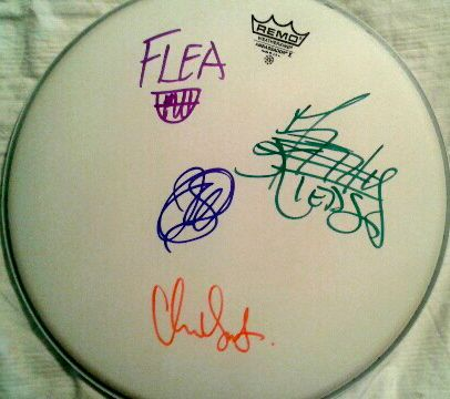 Red Hot Chili Peppers Band Autographed Drumhead