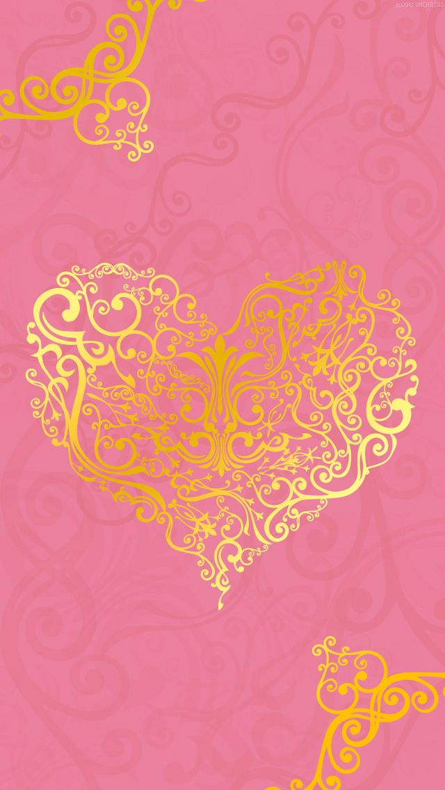PINK WITH GOLD HEART, IPHONE WALLPAPER BACKGROUND