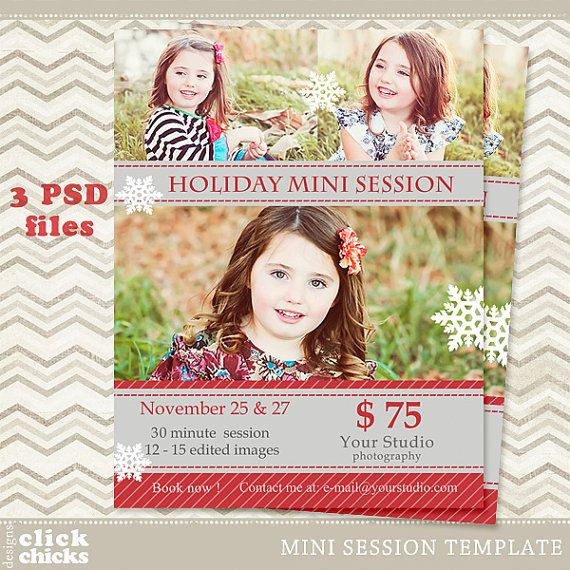 Holiday Mini Session Template  Photography Marketing by ClickChicksDesigns, $8.00