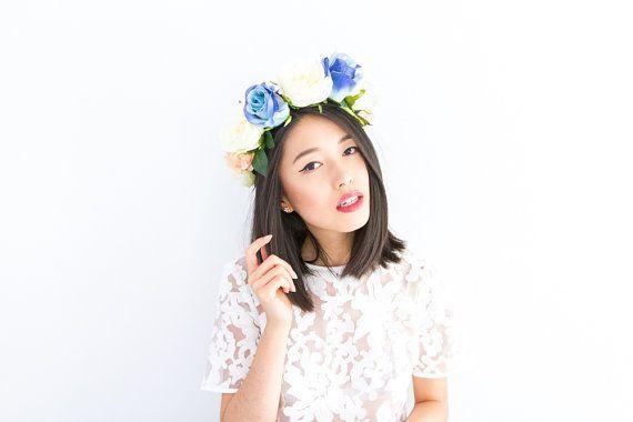 statement rose wreath // floral headband, wedding headpiece, flower crown, spring racing carnival hair accessory, bridal - 'Ainukka'