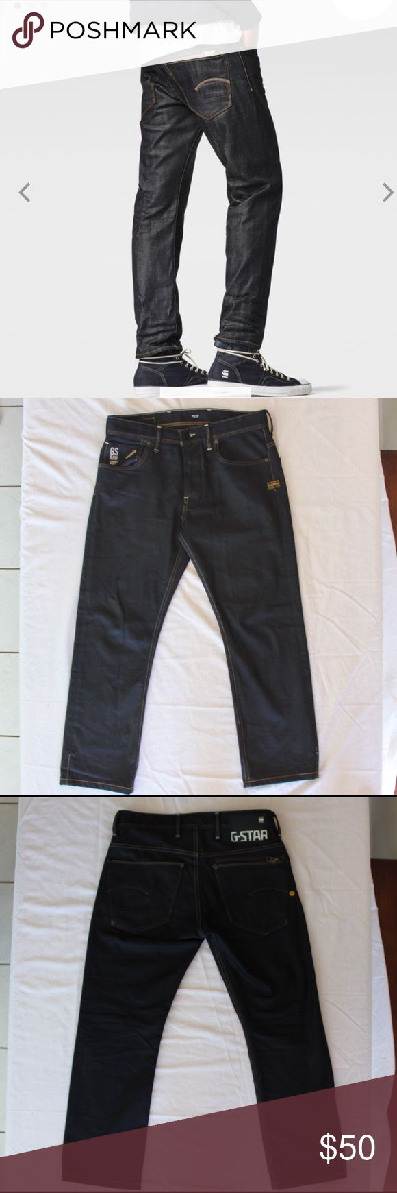 """G-Star Raw Jeans 31/27 G-Star Raw 3301 jeans. Excellent condition. Professionally hemmed to 27"""". 10"""" front rise. 100% cotton. ATTACC Straight. Concealed zip pocket and flat rivets. No heel fray however even tho they were professionally hemmed a bit of very very minor fray shows through on vertical hem since they are raw denim it is noticeable only because of the teeny tiny spec of color peeping out. It is not something anyone is going to notice except you and that's because I told you. Love…"""