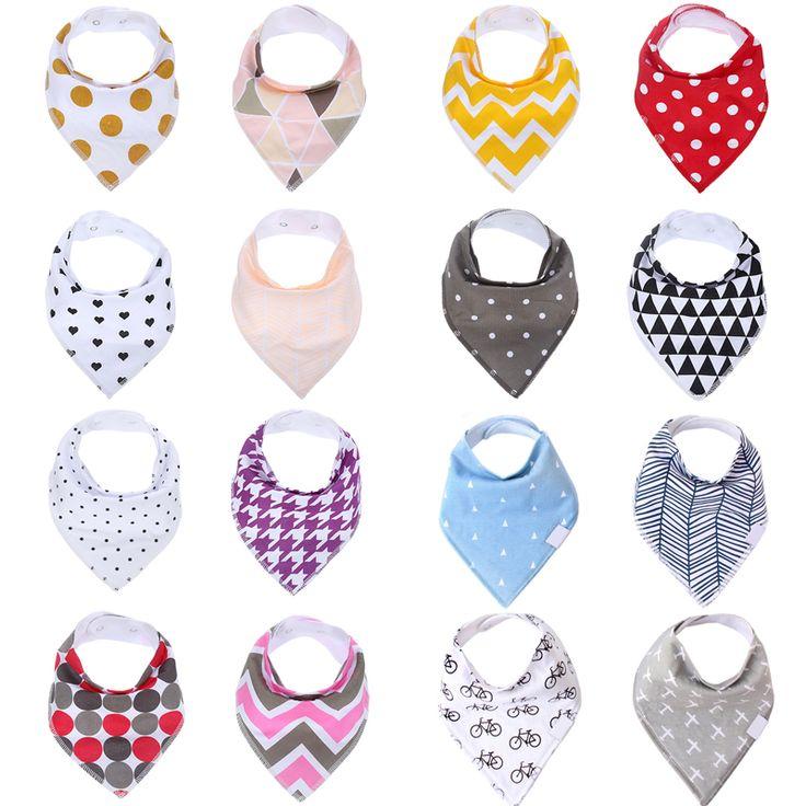 4 Pack Toddler Infant Baby Bib 100% Cotton Absorbent Bandana Dribble Bib with Adjustable Snaps Saliva Towel Burp Cloth