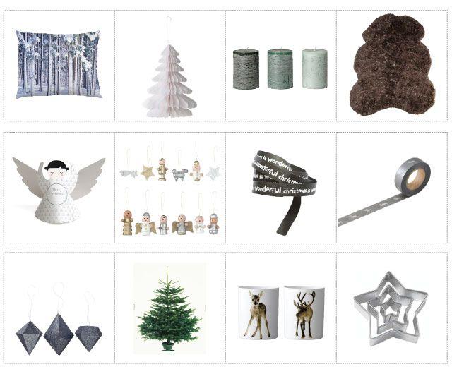 Ook zonder een traditionele kerstboom met ballen kun je een heerlijk knusse kerstsfeer creëren!  eerste rij kussen snow forest (Stijlkamer83), papieren kerstboom (Livv lifestyle), geurende stompkaars (IKEA), Storebror schapenvacht (wonenmetlef.nl) tweede rij 12 papieren engeltjes (Dille & Kamille), 12…