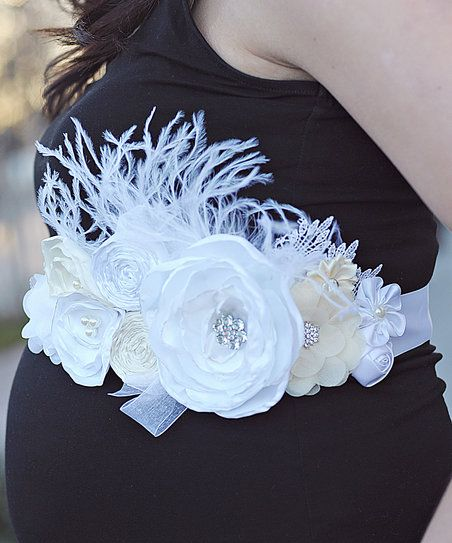 A charming array of flowers lends a beautiful touch to this supersoft maternity sash that bursts with picture-perfect panache.