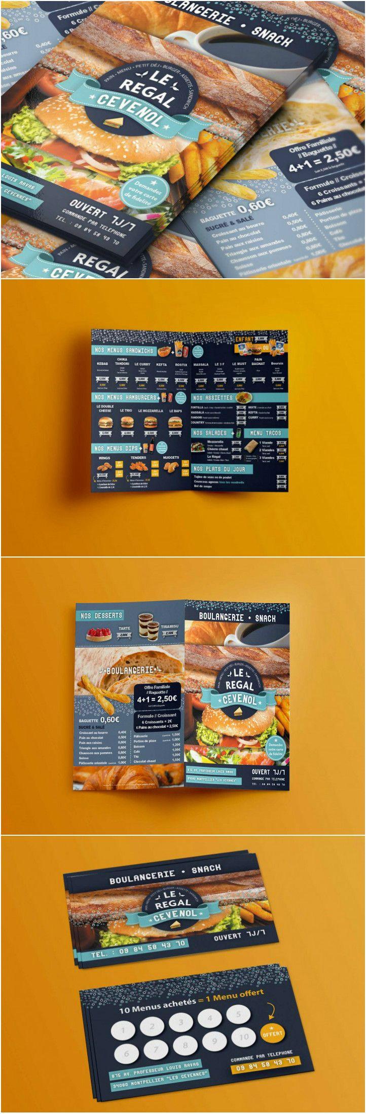 """Supports print pour un snack boulangerie  Graphisme et impression d'outils de communication pour """"Le Régal Cévenol"""" • Dépliants deux volets A5 • Carte de fidélité avec tampon"""