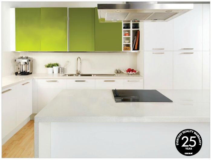 Another Ikea kitchen catalogue idea. Pretty much sold on the high gloss white joinery and caesarstone bench tops.
