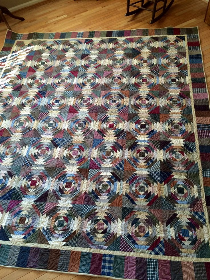 Recycled Shirt Pineapple Quilt DONE! Wonderful! Made by Wild8580 of Quilting Board, and she used parts from 60 shirts.
