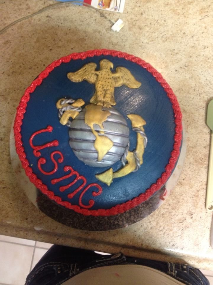 Marine Corps Cake USMC entirely edible cake art edible emblem #baking #cooking #food #recipes #cake #desserts #win #cookies #recipe #cakes #cupcakes