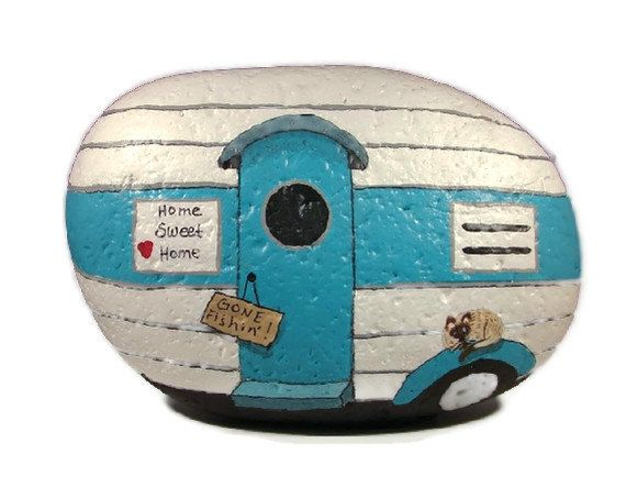 I'm doing this once I paint my trailer. Travel Trailer RV handpainted rock unique gift by RocksOK on Etsy, $25.00