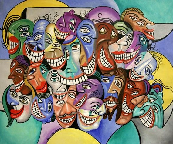 Say Cheese Dental Art Dentist Teeth Smiling Cubist Anthony Falbo on Etsy, $49.00