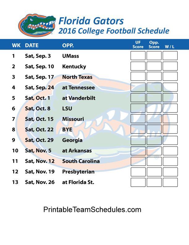 Florida Gators Football Schedule 2016 Print Here - http://printableteamschedules.com/collegefootball/floridagators.php