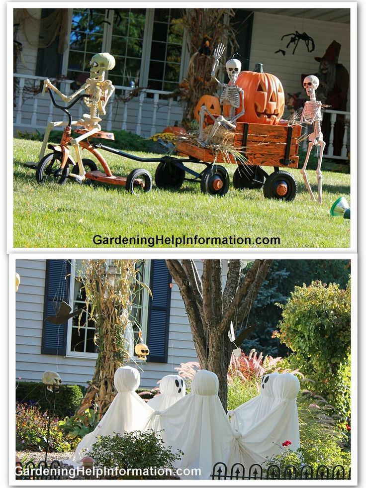 ideas inspirations decorating your yard for halloween outdoor halloween decorations those ghosts around the tree are cute - Cute Cheap Halloween Decorations