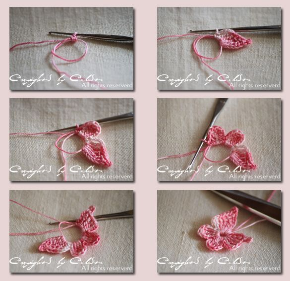 such a pretty pretty crochet apllique!! - how to make a butterfly in one go!