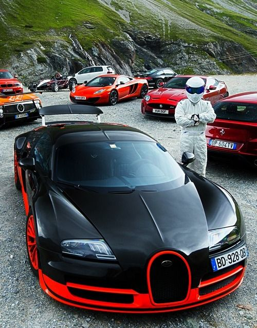 """Bugatti and the Stig .... So much sexy in one pic"" Well, yeah, until you find out it's Ben Collins."