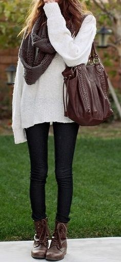 autumn outfit white oversize sweater large bag purse leather leggings scarf gray burgundy winter cold weather A pair of leggings, sweater/jumper and boots will always make the comfort of warmness approache you.