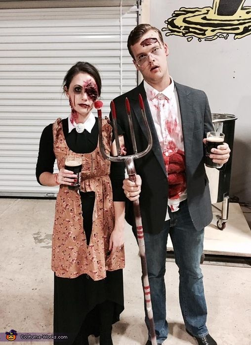 zombie american gothic halloween costume contest at