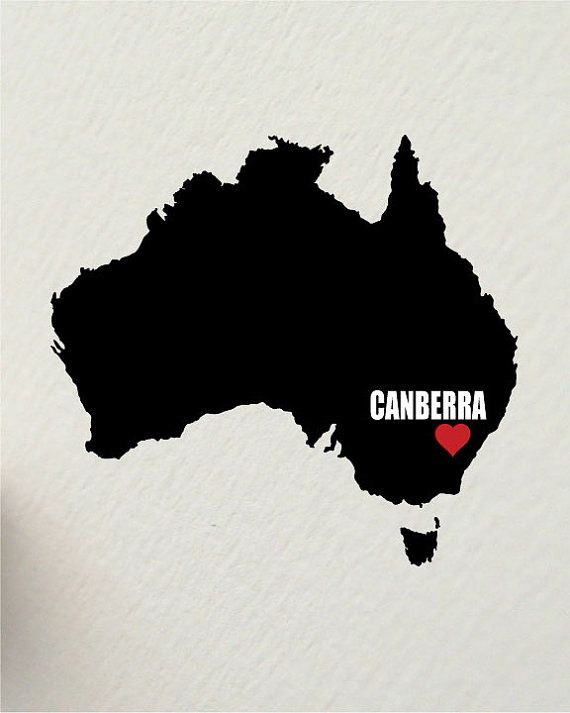 I LOVE CANBERRA australia 8 x 10 inch by hunterandsmile on Etsy, $17.50