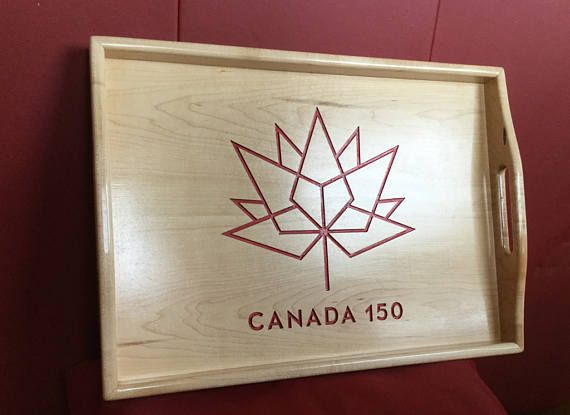 Canada 150, Wood Serving Tray, Coffee Table Tray, Unique Serving Tray, Wedding Gift,Home Decor, Trays and platters, Maple