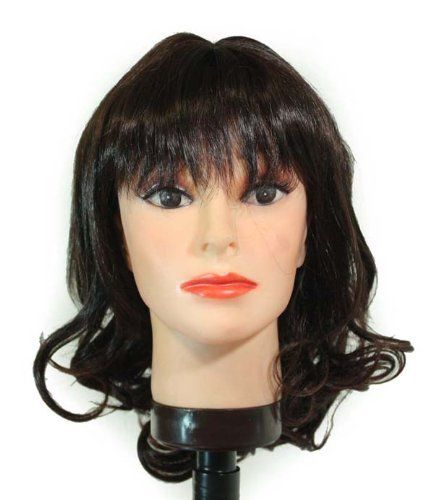 """16"""" Darkest Brown Tipped with Dark Auburn Layer / Small Curls / Bangs Synthet... by Willowbee. $35.99. These hair pieces are Light and Comfortable. Mostly adjustable to your desired fitment. Color in these hair piece wigs will NOT fade or oxidize after long period in direct sunlight. These Wigs are Easy to Maintain. Rich Hair Fibers. 16"""" Darkest Brown tipped with Dark Auburn layer / small curls / bangs synthetic wig"""