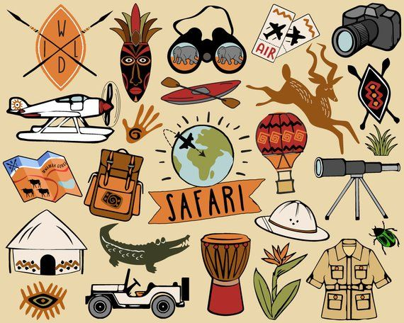 Safari Clipart Travel Clipart African Safari Clip Art Hiking Clipart Adventure Clipart Jungle C Travel Clipart Safari Illustration Safari Drawing