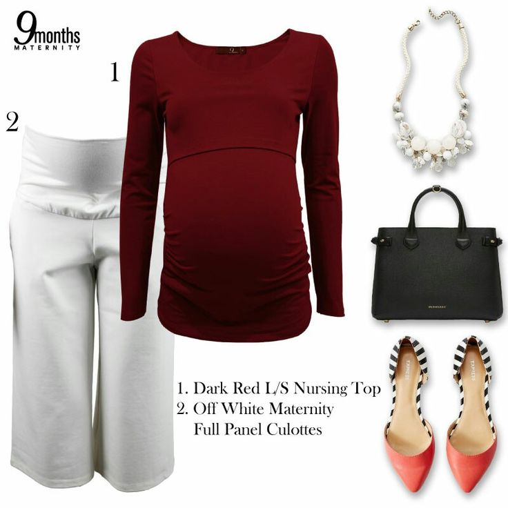 Maternity basics can go beyond in fashion. You can pull out a sophisticated look by adding a little bling to a simple tee or shirt, or maybe an iconic red lips to accompany the look! www.9monthsmaternity.com  Add to basket: Dark Red L/S Nursing Top → $21.44 Off White Maternity Full Panel Culottes → $38.13