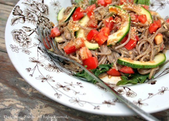 Zucchini Soba Noodle Salad with Miso Tahini Dressing