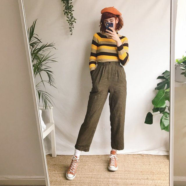 Beautiful true vintage high waisted checked trousers, in and – Depop