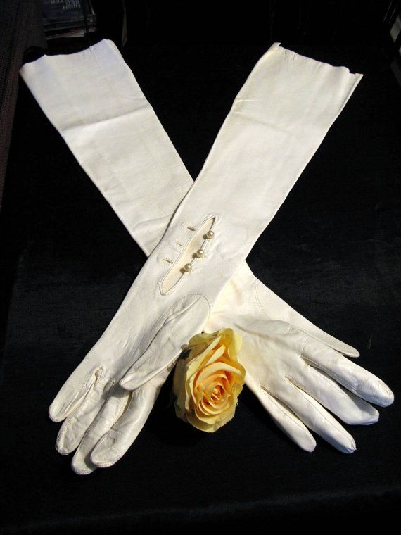 White Long Leather Gloves Opera Length Gloves By