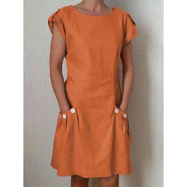 Summer Pockets Buttoned-decor Shift Linen Plus Size Dresses