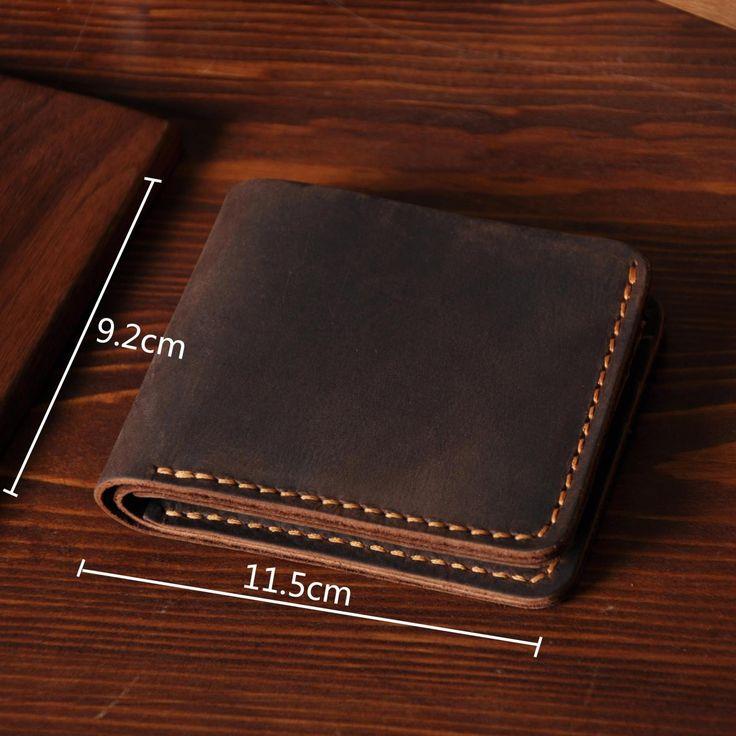 Handmade Men's Short Leather Wallet Money Purse Card Holder MT03