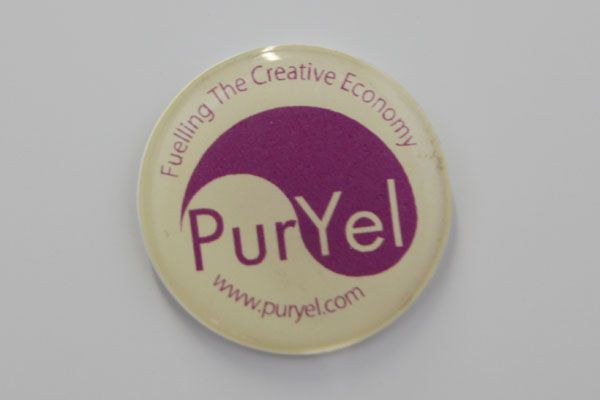 PurYel domed fridge magnet