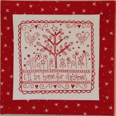 Christmas redwork embroidery