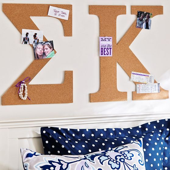 No Nails Greek Letter Cork Pinboard! Making this for my apartment!