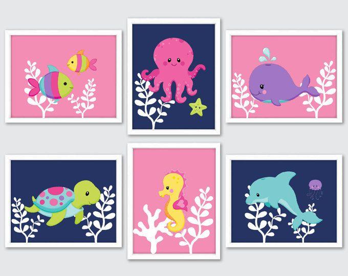 Arte de pared de animales de mar, los niños decoración cuarto de baño, mar vida vivero Decor, chica vivero arte, peces tortugas Caballito de mar pulpo delfines ballenas, rosa azul