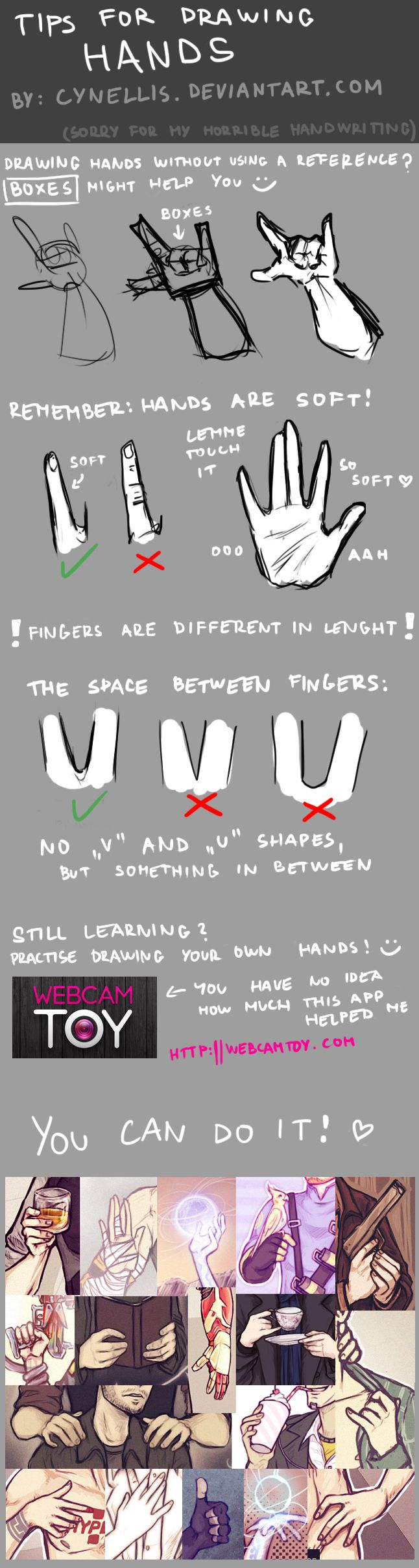 TIPS FOR DRAWING HANDS by cynellis.deviantart.com on @deviantART . Sketch / Drawing Illustration Inspiration