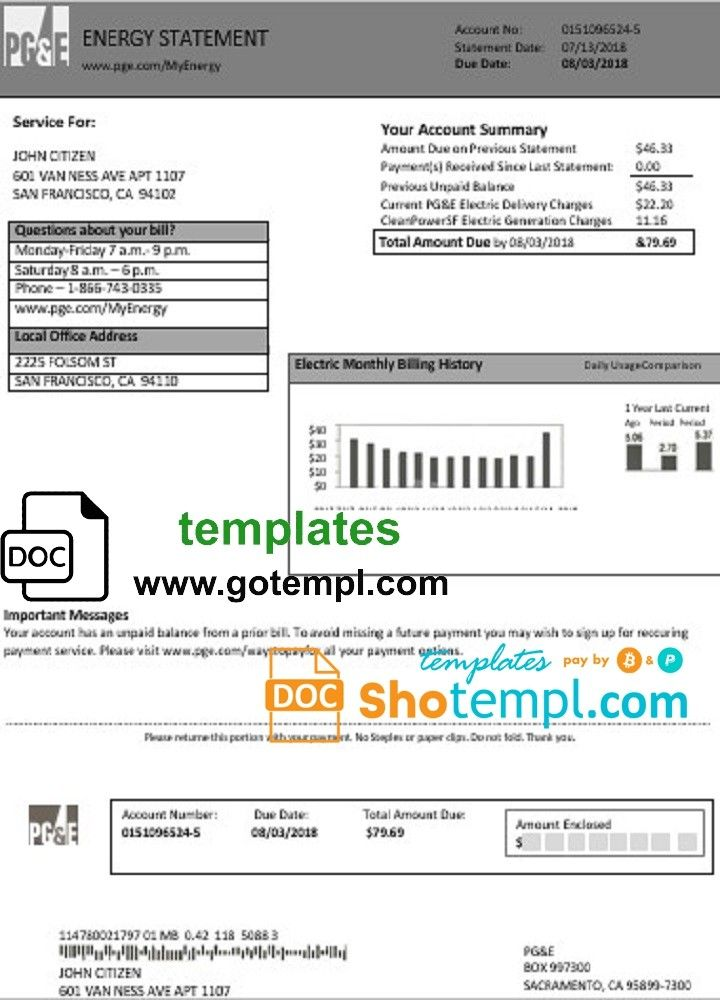 Usa California Pg E Electricity Utility Bill Gotempl Bill Template Utility Bill Electricity
